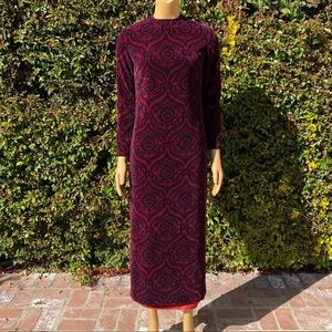 VINTAGE Veronica Marsh Velvet Damask Dress